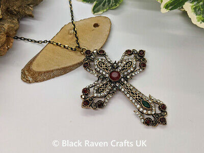 £6.99 • Buy Stunning Dark Gold Gothic Cross Crucifix Necklace Diamante & Red & Green Crystal