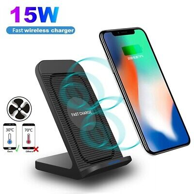AU17.59 • Buy 10W Fast Qi Wireless Charger Dock Stand With Cooling Fan For IPhone 11 XS 8 XR X