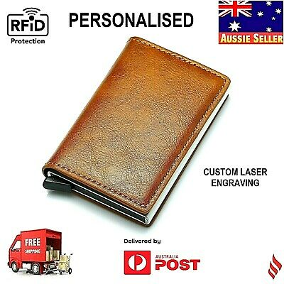 AU11.99 • Buy Pop Up Leather Credit Card Holder RFID Blocking Wallet NEW  PERSONALISED