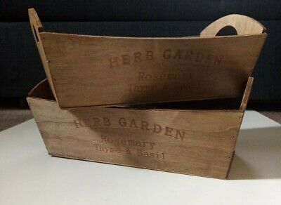 X2 Wooden Herb Planter/Trough For Garden/Window Box -  Brand New - Set Of 2 • 9.50£