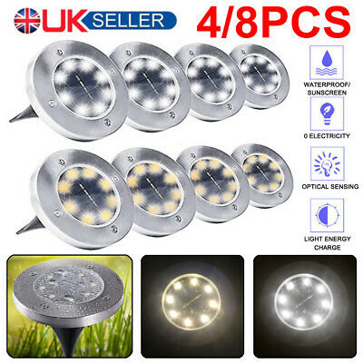 8LED Solar Power Ground Lights Floor Decking Patio Outdoor Garden Lawn Path Lamp • 9.99£