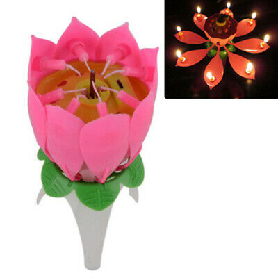 $ CDN11.28 • Buy 1 X Lotus Flower Musical Birthday Candle Rotating Spin Magic Cake Topper Party