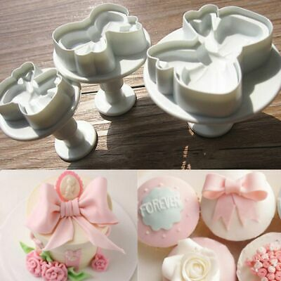 3Pcs/set Bow Knot Plunger Cake Mold Candy Cookies Decor Fondant Icing Cutter • 5.25£