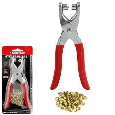 Eyelet Fabric Punch Pliers Leather Canvas Hole Puncher Tool 50 Brass Eyelets • 4.99£