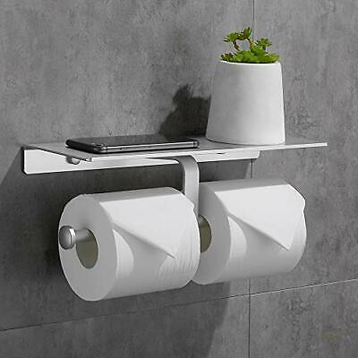 Double Toilet Paper Holder With Spacious Shelf Toilet Roll Tissue Holder No • 19.53£
