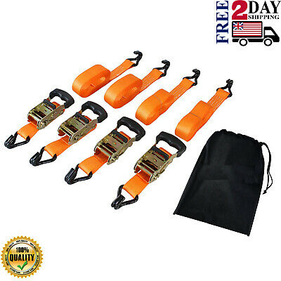 $33.49 • Buy Ratchet Tie Down Strap Reese 4PK Anchor Retractable Heavy Duty Hook-3,000 Lbs