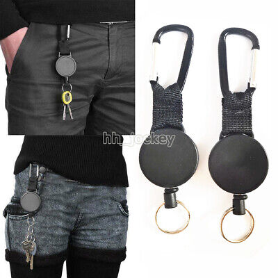 £5.19 • Buy 2pcs Retractable Stainless Keyring Pull Ring Key Chain Rope Recoil Heavy Duty