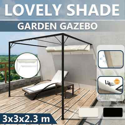 AU260.99 • Buy VidaXL Garden Wall Gazebo With Retractable Roof Canopy 3x3m Anthracite/White
