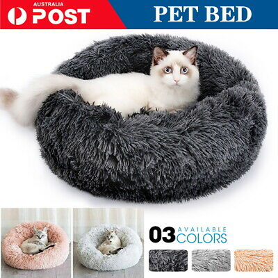 AU28.30 • Buy Pet Dog Cat Calming Bed Warm Soft Plush Round Nest Comfy Sleeping Kennel Cave