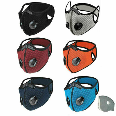 Face Mask Reusable Washable Anti Pollution PM2.5 Two Air Vent With Filter UK • 4.99£