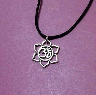 $ CDN4.60 • Buy Lotus Water Lily Flower Padma OM Antique Silver Pendant Adjustable Necklace