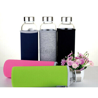 BP Free Glass Sport Water Bottle With Tea Filter Infuser Protective Bag   • 11.10£