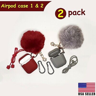$ CDN10.01 • Buy Airpods Case Silicone Cute Cover Fur Ball Keychain Strap For Airpods 1/2 - 2Pack