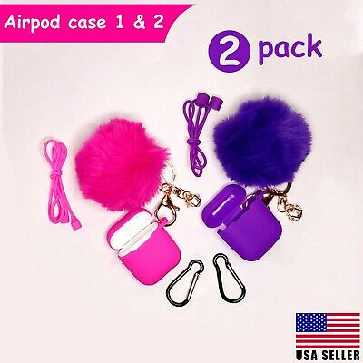 $ CDN12.54 • Buy Airpods Case Silicone Cute Cover Fur Ball Keychain Strap For Airpods 1/2 - 2Pack