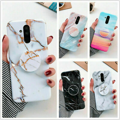 Marble Phone Case Cover For IPhone Samsung Galaxy S7 Note 8 S10 + Socket Holder • 3.96£