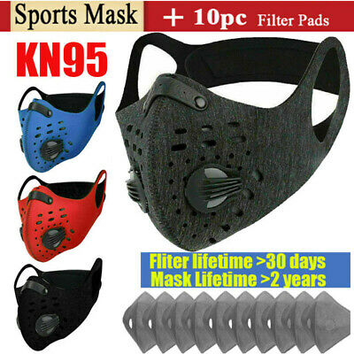 AU22.08 • Buy Riding Sport Face Mask With Breath Valve & 10x Filter Pad Lots For Mouth-muffle