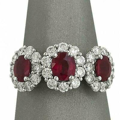 3Ct Oval Cut Pink Ruby Diamond Halo Trilogy Engagement Ring 14ct White Gold Over • 66.39£
