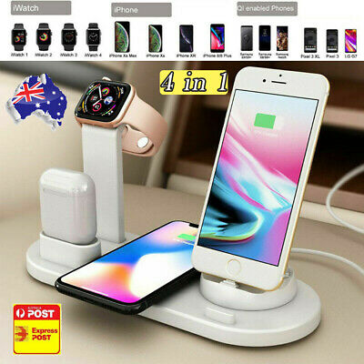 AU27.89 • Buy 4 In1 Charging Dock Station Charger Stand For AirPods Apple Watch IPhone Android