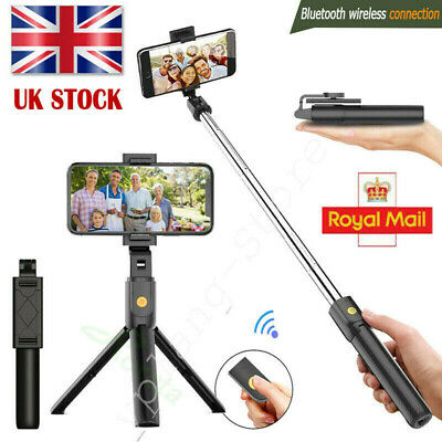 Bluetooth Selfie Tripod Telescopic Stick Remote Monopod Extendable Phone Stand • 9.58£