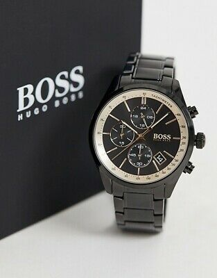 New Genuine Hugo Boss Hb1513578 Grand Prix Gq Steel Black Chrono Mens Watch Uk • 99.99£
