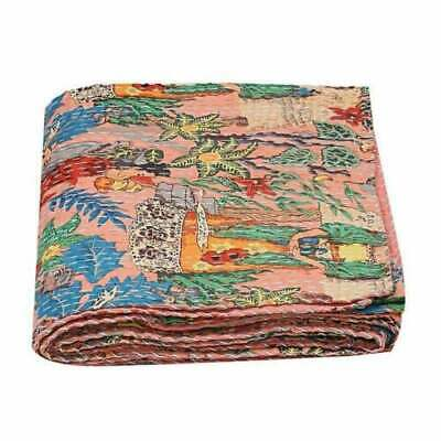 Vintage Indian Handmade Quilt Kantha Bedspread Throw Cotton Blanket Ralli King • 32.98£