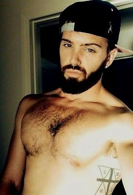 $ CDN4.40 • Buy Shirtless Male Hunk Hairy Chest Beard Tattoo Masculine Jock Dude PHOTO 4X6 D1073