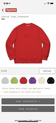 $ CDN266.68 • Buy Supreme Cutout Logo Crewneck Sweatshirt Box Logo Red Size XL ORDER CONFIRMATION