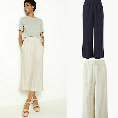 Linen Blend Striped Cropped Trousers M&S COLLECTION  New! 8 12 14 16 • 12.99£