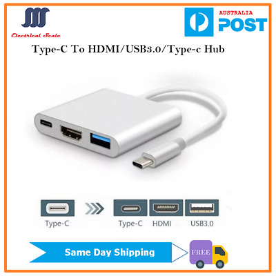 AU16.69 • Buy 3 In 1 Type-C To HDMI USB3.0 USB-C Splitter Hub For MacBook Air/Pro
