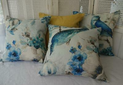 AU23.80 • Buy Mix & Match Bird Floral Watercolour Blue Mustard Teal Hamptons Cushion Cover 45
