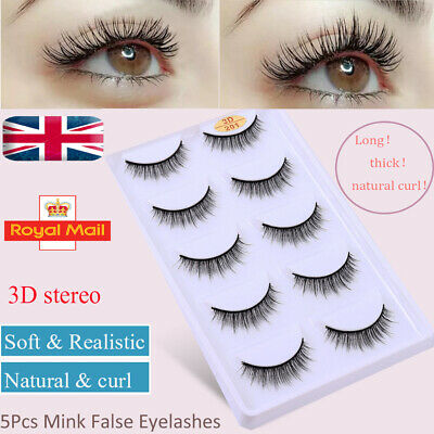 UK 5Pairs Hand-made Fake Eye Lashes3D Natural Mink Short False Eyelashes Makeup • 2.99£