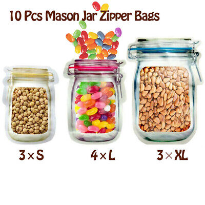 10 Pcs PE Reusable Zip Lock Bag Stand Up Food Storage Pouch Mason Jar Zipper • 2.49£
