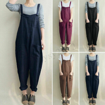 Women Sleeveless Strappy Baggy Jumpsuit Playsuit Dungarees Harem Pants Plus Size • 6.75£