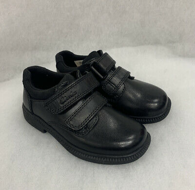 Boys Clarks School Shoes Deaton Black Leather Size 8F Sale Price Was £34 • 28£