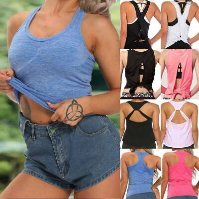 £6.57 • Buy Women Yoga Tank Tops Open Back Vest Ladies Fitness Gym Padded Sports Fit Shirts