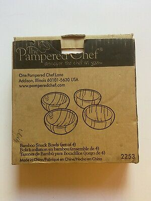 $19.99 • Buy The Pampered Chef Bamboo Snack Bowls (4)- RETIRED - NIB(OPEN BOX).