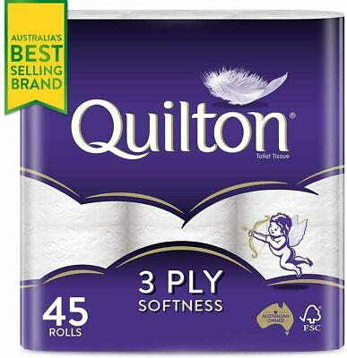 AU24.90 • Buy Quilton 3 Ply Toilet Tissue 180 Sheets Per Roll Pack Of 45 - FREE AU SHIPPING!!!
