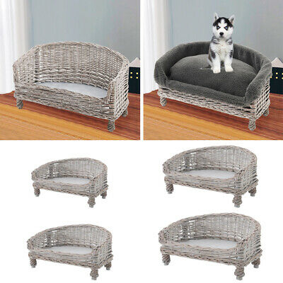 £29.95 • Buy Handmade Wicker Woven Pet Sofa Couch Cat Dog Cushions Blankets Padded Bed Settee