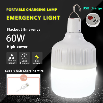 60W USB Rechargeable LED Light Bulb Lamp Emergency Outdoor Emergency Camping BBQ • 7.49£