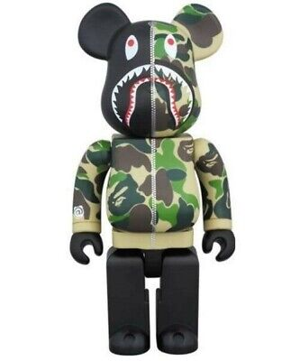 $650 • Buy BAPE Shark ABC Camo Bearbrick 2015 Be@rbrick 400% Black Green Medicom Toy Japan