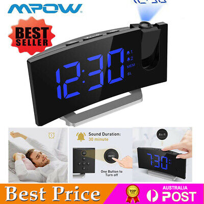 AU52.99 • Buy Mpow Projection Projector Blue LED Digital Clock FM Radio Alarm Snooze Dimmable