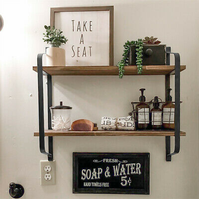 UK Large Rustic Industrial Pipe Wall Floating Shelf Wooden Storage Shelving Unit • 21.97£