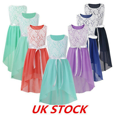 UK Floral Girl Princess Dress Wedding Bridesmaid Kid High Low Pageant Party Gown • 3.69£