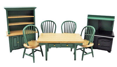 Dolls House Hunter Green Kitchen Dining Furniture Set With Wood Stove Cooker • 39.99£