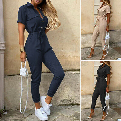 UK Womens Jumpsuit Long Pants Short Sleeve Turn Down Collar Playsuit Cargo Harem • 9.73£