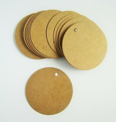 50mm Round Circle Brown Recycled Kraft Parcel Gift Tags Price Tags • 3£