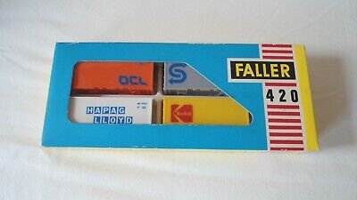 FALLER AM 420 CONTAINERS X4 BOXED FOR CONTAINER LOADING H0 SCALE • 35£