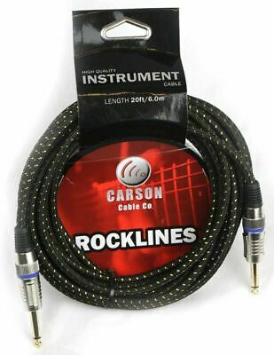 AU28.90 • Buy CARSON 20 Foot Guitar Lead / Instrument Cable  Noiseless Braided Black/Gold
