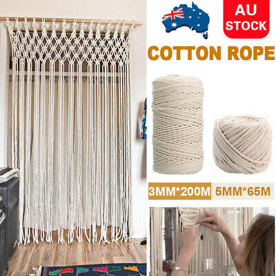 AU14.59 • Buy 1/2 Macrame Rope Natural Beige Cotton Twisted Cord Artisan Hand Craft 3/4/5/6mm