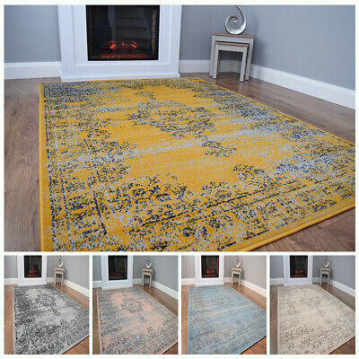 New Modern Traditional Faded Grey Gold Rug Large Small Living Room Mat Cheap UK • 29.95£